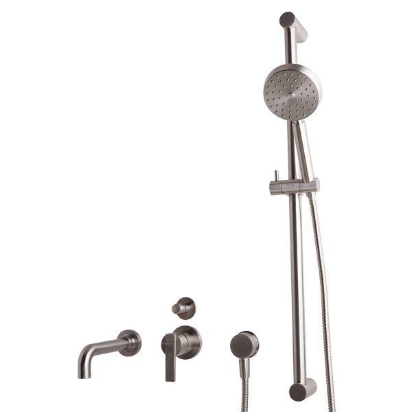 inbouw badkraan met douche-glijstang van Sento Stainless