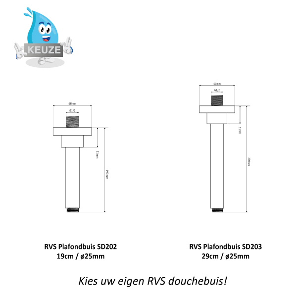 RVS Plafond Douchebuizen Sento Stainless SD202 SD203