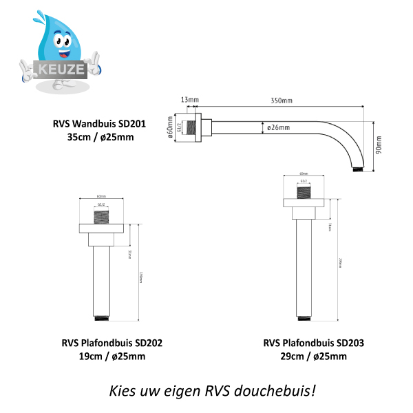 RVS douchebuizen Sento Stainless SD201-SD202-SD203