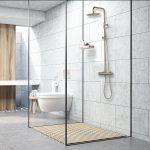 Badkamer grijs met hout RVS316 regendouche Sento Stainless