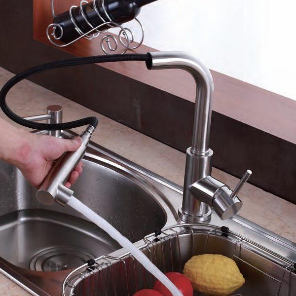 Inox keukenkraan uittrekbaar Sento Stainless