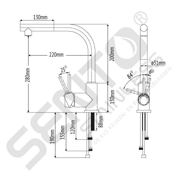 Uittrekbare RVS keukenkraan SK111
