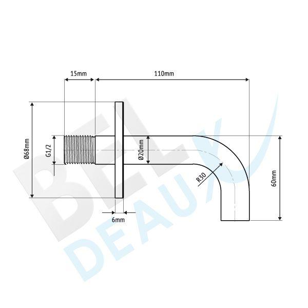 RVS inbouw uitloop 11cm BLU110