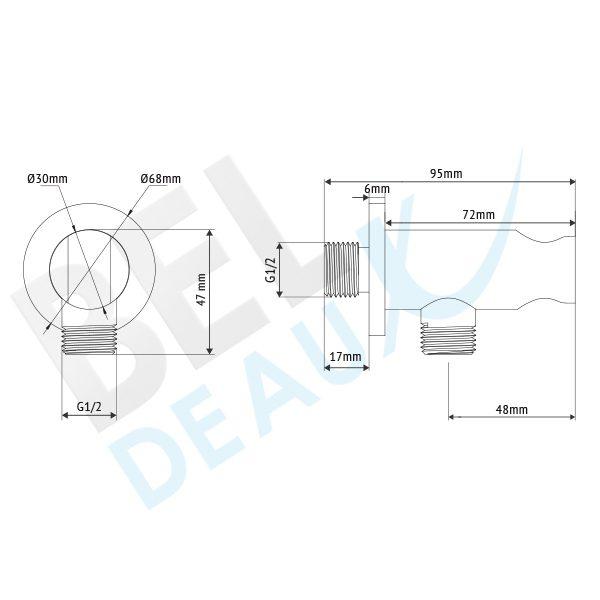 Tekening Beldeaux RVS Aansluitbocht Vaste houder BLD2015