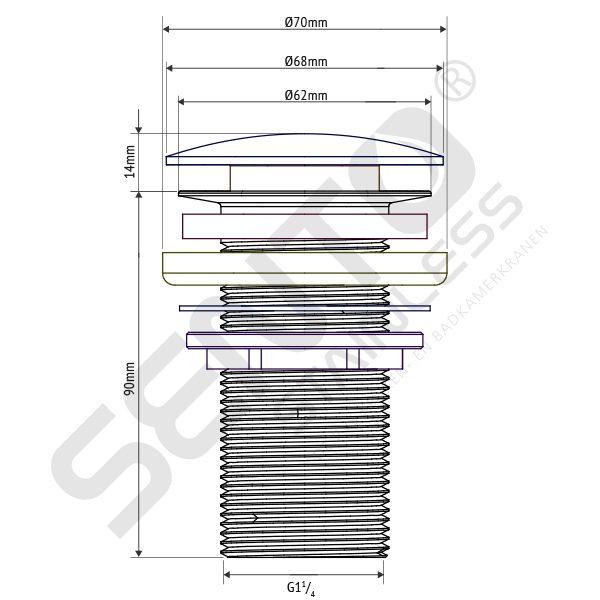 tekening RVS Afvoerplug allways open SP110