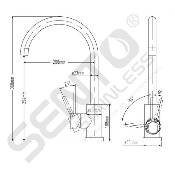 Tekening-RVS-Keukenkraan-Sento-Stainless-SK101
