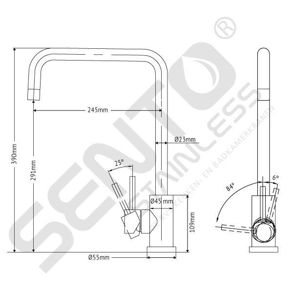 Tekening-RVS-Keukenkraan-Sento-Stainless-SK102