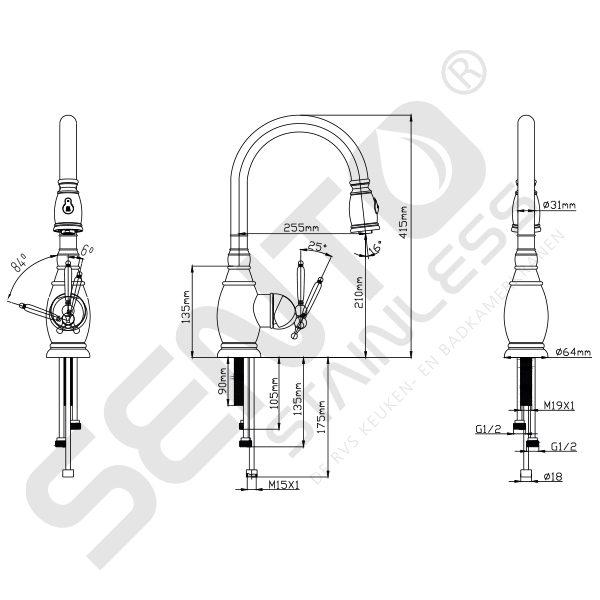 Tekening-RVS-Keukenkraan-Sento-Stainless-SK105