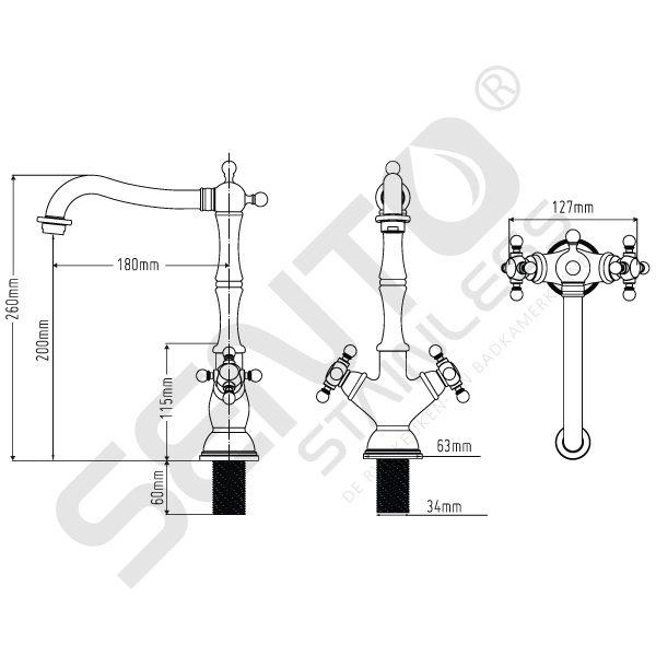 Tekening-RVS-Keukenkraan-Sento-Stainless-SK116