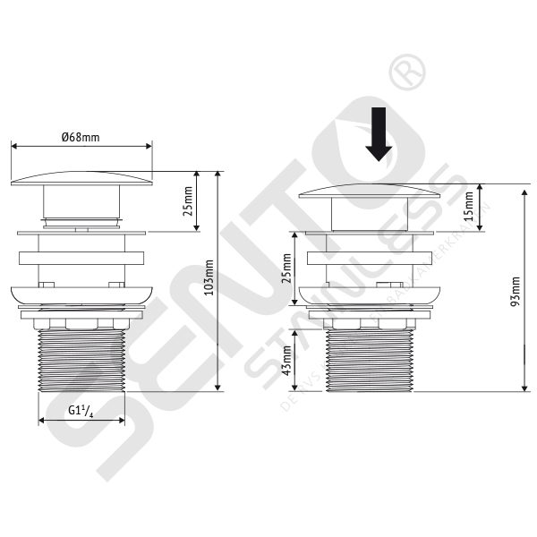 RVS Pop-up afvoerplug overflow SP102