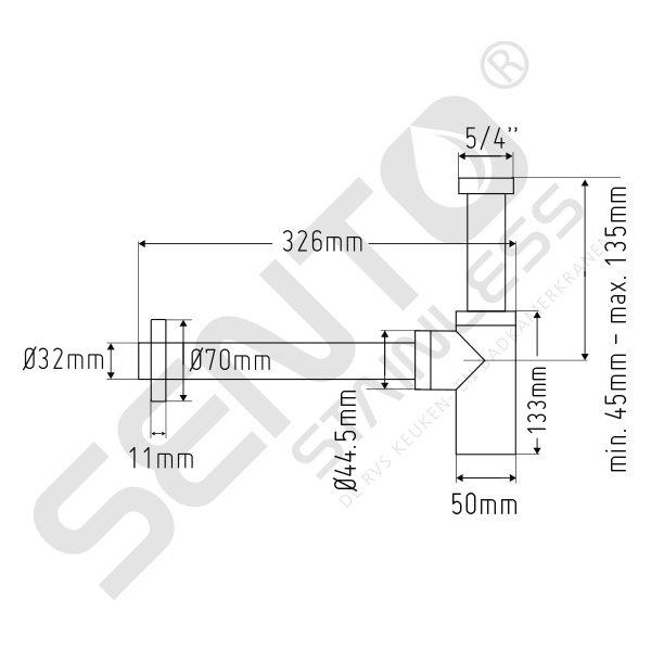 Tekening RVS Sifon SES101