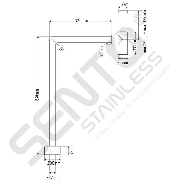 Tekening RVS Sifon SES102
