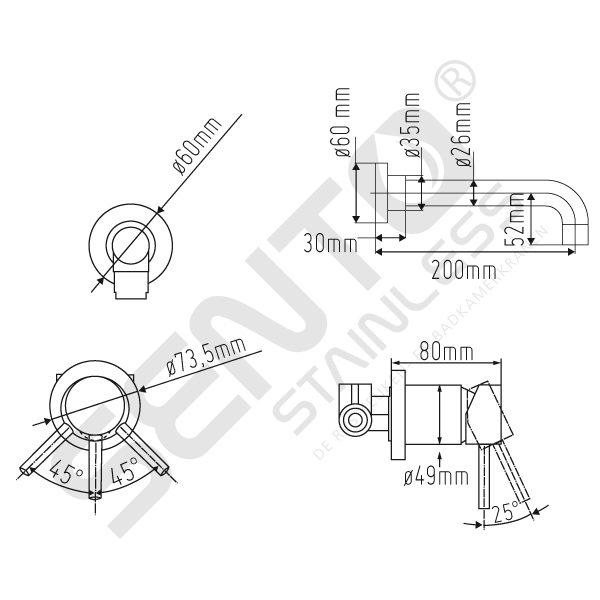 Tekening-Sento-Stainless-RVS-Inbouw-Mengkraan-SWW104