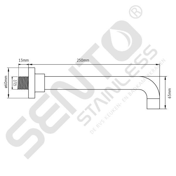 Tekening Sento Stainless RVS Wanduitloop SWW201 WM