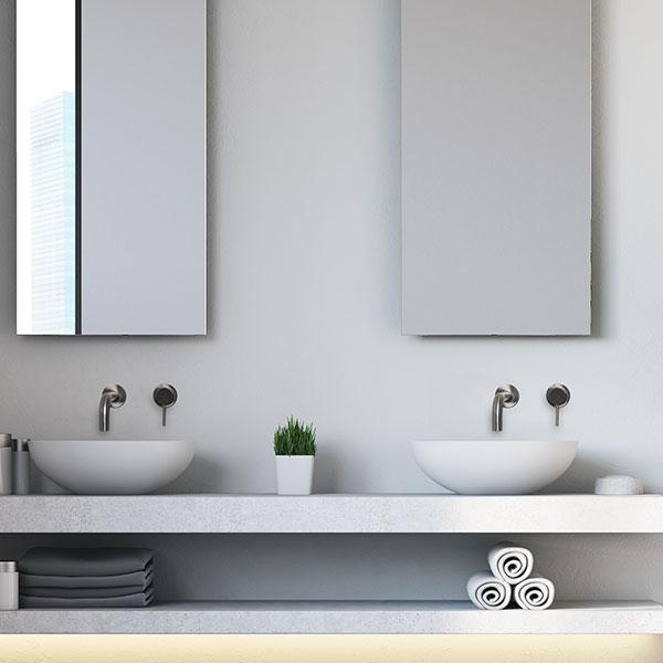 inbouwen RVS kraan in muur van de badkamer