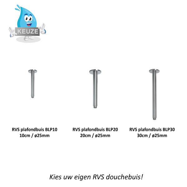 RVS Plafond Douche Buizen Beldeaux BLP10-BLP20-BLP30